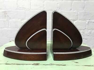 Antique English 1930s Pair Of Art Deco Mahogany Wooden Bookends.