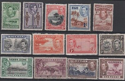 BRITISH EMPIRE - 13 x KGVI Stamps COMMONWEALTH Mixed Selection JOB LOT 8