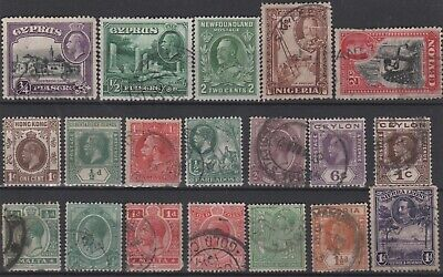 BRITISH EMPIRE - 19 x KGV Stamps COMMONWEALTH Mixed Selection JOB LOT 1