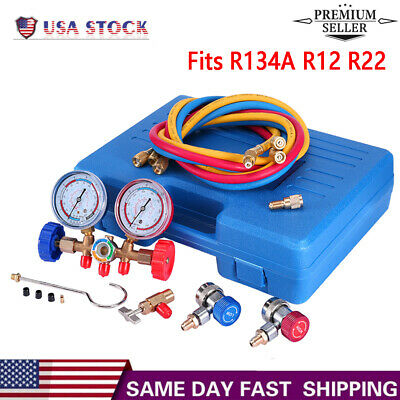 Fits R134A R12 R22 AC Diagnostic Manifold Gauge Set For Freon Charging 3 Way