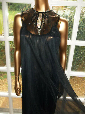 "Vtg 1970s BHS Double Layer Nylon Lacy Nightie Nightdress Gown 40-42"" Tall Girl"