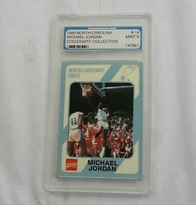 1989 Michael Jordan North Carolina College #14 Basketball Card PGS Graded 9 MINT