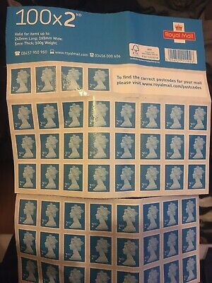 100 X 2nd Class Adhesive Stamps Booklet - Brand New - Royal Mail Blue Free P&P