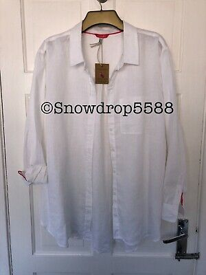 Joules Shirt Blouse White Linen uk 18 BNWT Jeanne