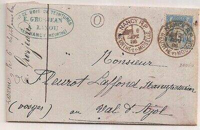 LETTRE COVER LAC;Meurthe  Moselle Daguin NANCY,6/9/1886;Bte rurale O=LAXOU,Yv 90