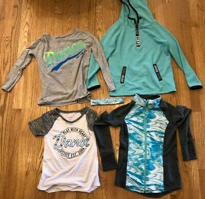 Justice Girls Active Dance Lot Tops Sweatshirt T-Shirts Size 8 EUC