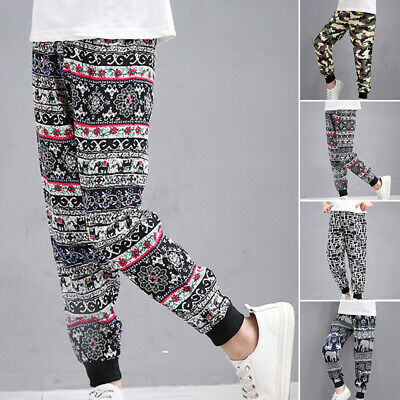 Boys Kids Children Elastic Pants Casual Loose Printed Yoga Gym Harem Trousers