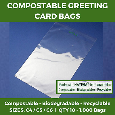 Clear Compostable Greeting Card Bags - Cello Biodegradable Recyclable Display