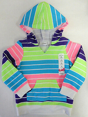 Jumping Beans Size 4 Neon Striped Fleece Lined Hoodie Girls Clothing