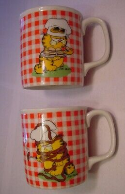 Vintage Estate Lot of 2 RARE Different 1978 GARFIELD Enesco Coffee Mug Mugs