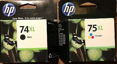 NEW HP 74XL 75XL High Yield  Black & Color Ink Cartridge Combo GENUINE