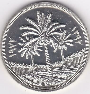 1972 IRAQ Palm Tree 1 Dinar Proof Silver Coin UNC 25th Anniversary Central Bank