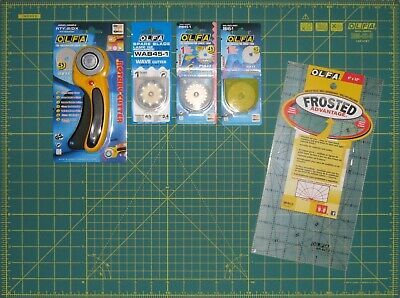"""OLFA Rotary Cutter RTY-2/DX & Cutting Mat RM-IC-S 24"""" x 18"""" Spare Blades & Ruler"""