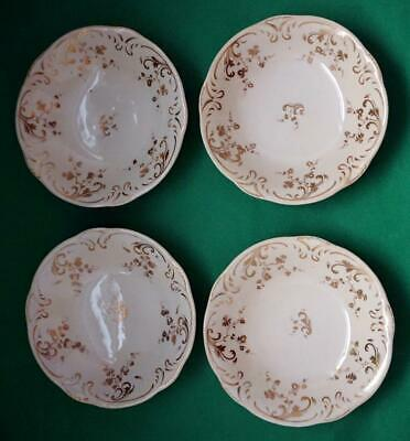 Four Antique British Porcelain Rockingham Brameld Saucers