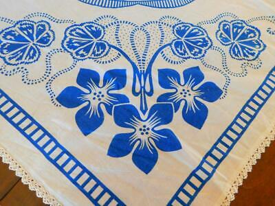 """Vintage Cotton Printed TABLECLOTH White BLUE VIOLETS Crocheted Lace Edge 44x45"""""""