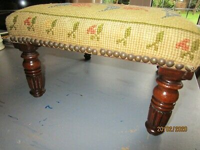 Antique William IV Mahogany Foot Stool with Turned Legs and Needle Point Upholst
