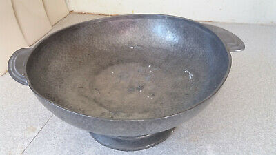 Antique Pewter  Arts & Crafts Fruit Bowl- 10 1/2 X 4 Inches