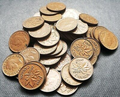 Lot of 50x 1952 Canada 1 Cent Coins - King George VI Pennies