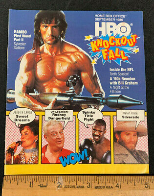 1986 September *Rambo Part Ii* Hbo Home Box Office Movie Guide Booklet (As)