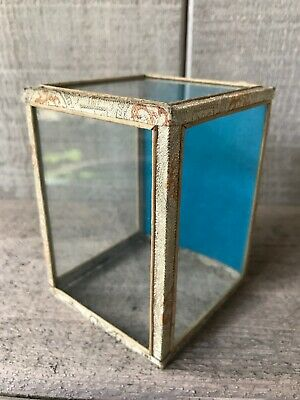 "Vintage Miniature Glass & Fabric Display Box 3"" x 3"" x 4"""