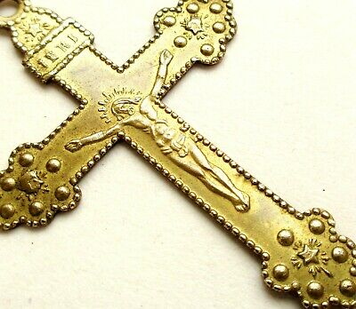 BEAUTIFUL ANTIQUE CRUCIFIX PENDANT with STAR DECORS