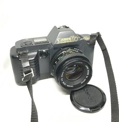 Canon T70 35mm SLR Film Camera & Canon FD 50mm f1.8 lens with EOS strap,Great ++