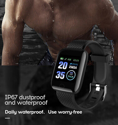 Smart Watch Bluetooth Heart Rate Blood Pressure Monitor Fitness Tracker 116Plus