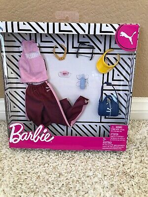 Barbie PUMA Fashion Outfit Pack Pink Shirt Track Pants Deluxe 8 pc Doll Clothes
