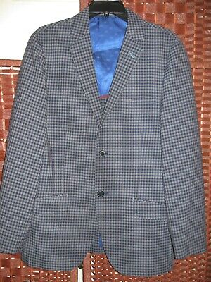 Ben Sherman blue gray check blazer 38R mens 2 button sports coat jacket