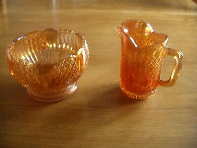 Vintage Sowerby Marigold Carnival Glass Pineapple/ Bows Pattern Jug And Bowl.