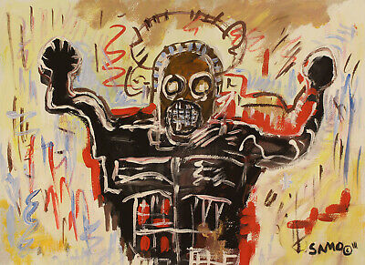Jean-Michel Basquiat Signed Rare Masterpiece Gouache Painting