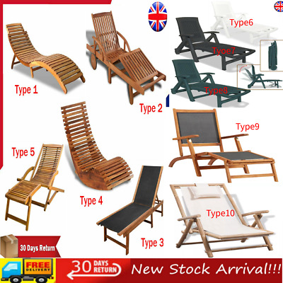 Folding Plastic Sun Lounger with Footrest Garden Recliner Chair Seat Adjustable