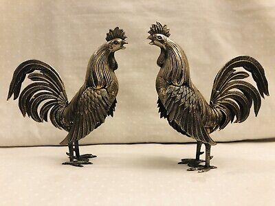 """Vintage Cast Metal Brass Tone Rooster Figurines Unmarked 5 """"x41/2"""""""