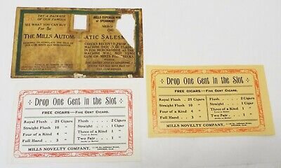 3 MILLS SLOT MACHINE & TRADE STIMULATOR LABELS Parts 1 Original Mints Cigars