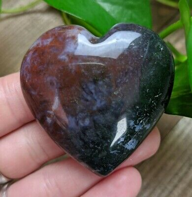 AGATE Puffy Heart Crystal Stone Healing Reiki Charged 2.5oz