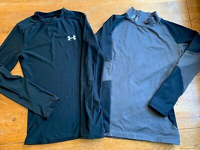 UNDER ARMOUR COLD GEAR LONG SLEEVE SHIRT LOT YOUTH SMALL BLACK GRAY Compression