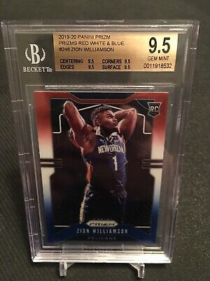 2019-20 Panini Prizm Red White Blue #248 Zion Williamson Pelicans RC SP BGS 9.5