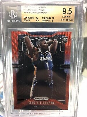 2019-20 Panini Prizm Ruby Wave #248 Zion Williamson Pelicans RC Rookie BGS 9.5