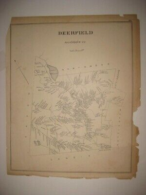 Antique 1892 Deerfield Candia New Hampshire Map Detailed Rare Nr
