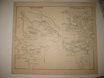 Antique 1892 Newington Londonderry North Hampton Newton New Hampshire Map Rare