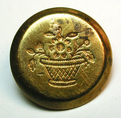 """Antique Stamped Brass Button 1840s Flowers in Woven Basket 11/16"""""""