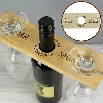 Personalised Married Couple Wooden Wine Glass & Bottle Butler Holder Wedding