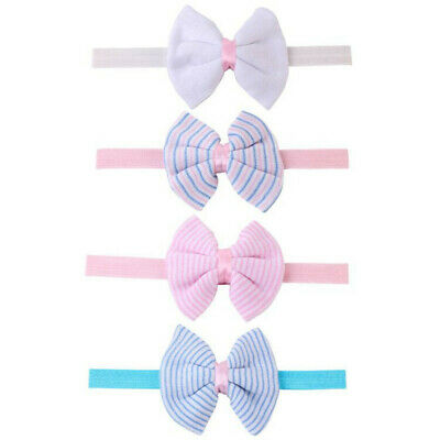 Toddler Kids Baby Striped Headband Girls Bow Hairband Cotton Stretch Turban