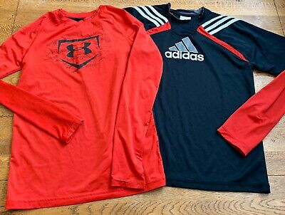 Adidas Under Armour Long Sleeve Athetic Shirt Lot Red Black Youth Large 14 16