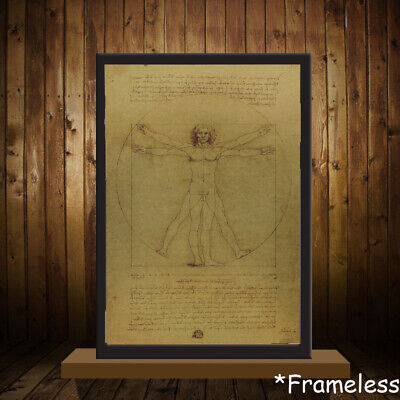 Core Home Decor Vitruvian Man Leonardo Da Vinci Antique Poster Mona Lisa