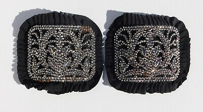 Antique French Shoe Buckles ~ Steel Cut Beads ~ Mounted Black Leather w Ruffle