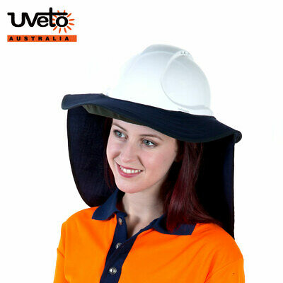 UVeto Brim 'N Shade Hard Hat Sun Protection Wide Brim with Flap UPF 50+