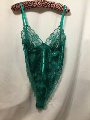 Vintage 80s Sheer Lace Teddy All in One Shimmer High Legs Polyester Satin