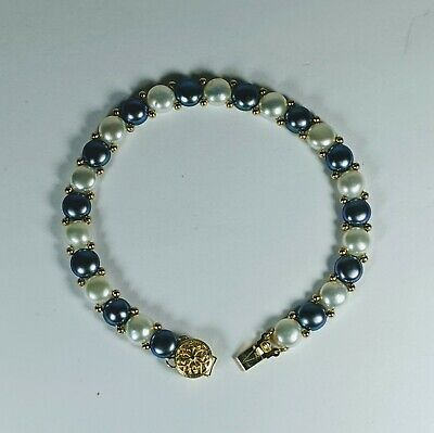 """WW 14KT Solid Yellow Gold Grey & Cream Colored Pearl 8"""" Bracelet"""