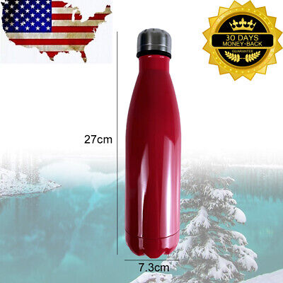 Stainless Steel Cup 500ml Double Walled Vacuum Insulated Thermal Water Bottle US